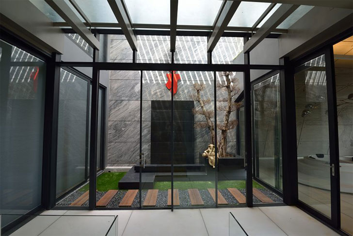 """courtyard on second floor luxurious home atrey and associates indiaartndesign"""