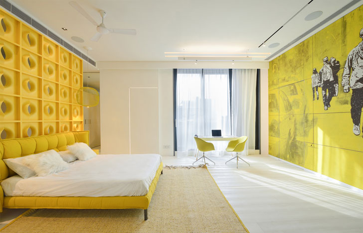 """yellow bedroom luxurious home atrey and associates indiaartndesign"""