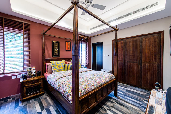 """four poster bed dubai villa sumessh menon indiaartndesign"""
