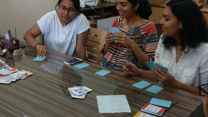 """playing the game mezza card game BIS publishers indiaartndesign"""
