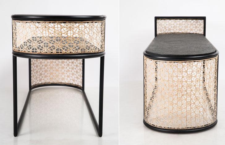 """Gingham bench details studio wood milan design week indiaartndesign"""