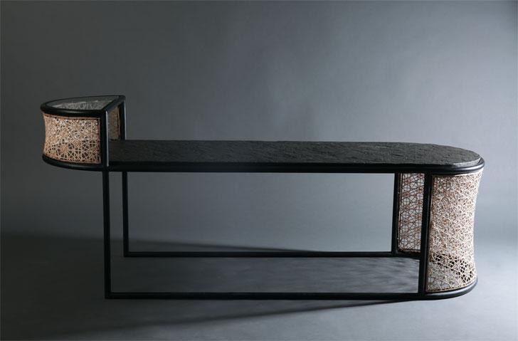 """Gingham bench studio wood milan design week indiaartndesign"""