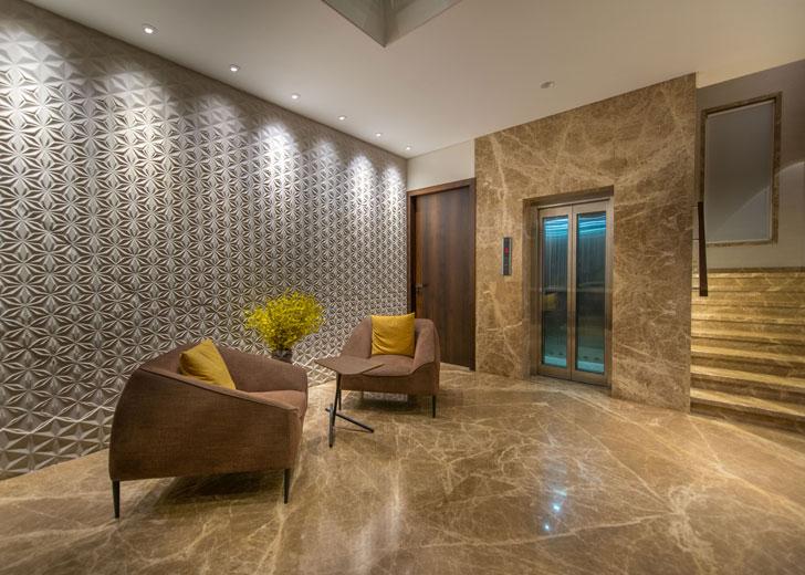 """lift lobby Lalit Villa Think Designz indiaartndesign"""