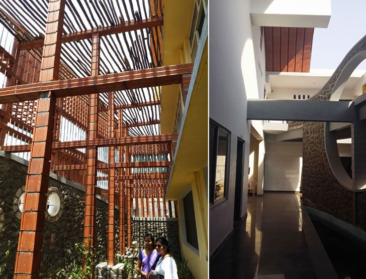 """corridor outside classroom Tungal school building BSB architects indiaartndesign"""