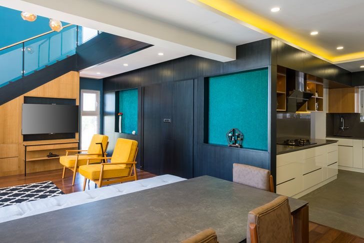 """black veneer panelling duplex residence by between spaces architects indiaartnesign"""