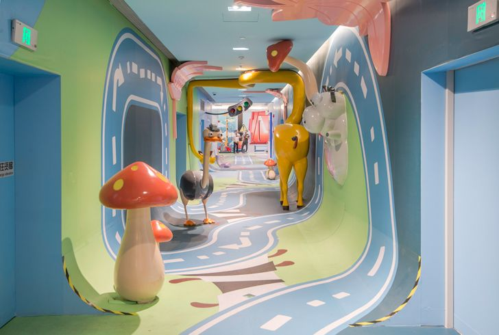 """painted corridor shanghai mall jungle race 100architects indiaartndesign"""