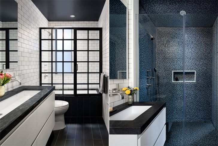 """black and white bathrooms New York Apt BFDO Architects indiaartndesign"""