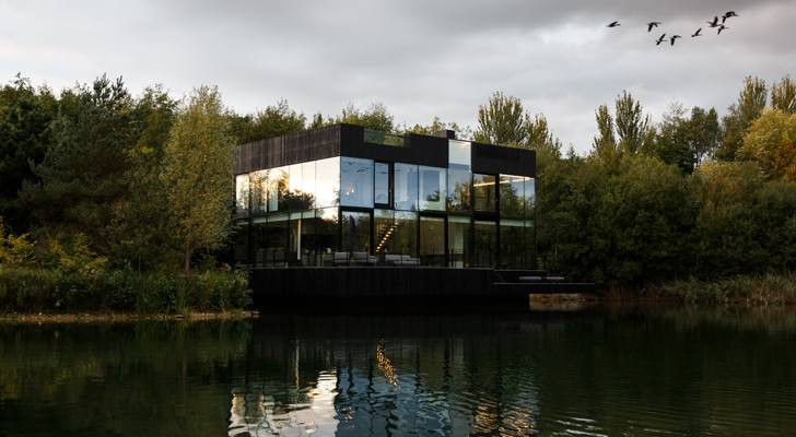 Glass villa on the lake