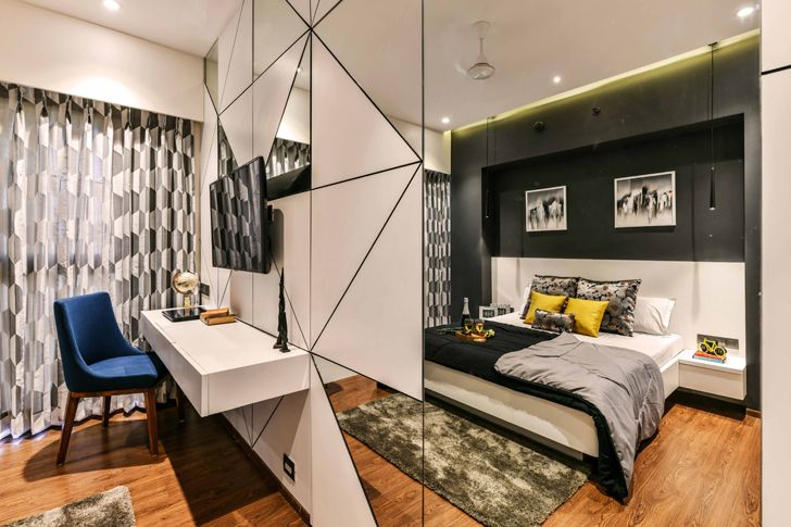 """kids bedroom mirrored wall pune residence the Spatium Interiors indiaartndesign"""