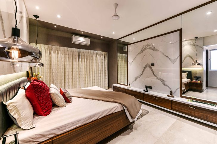 """master bedroom mirror wall pune residence the Spatium Interiors indiaartndesign"""