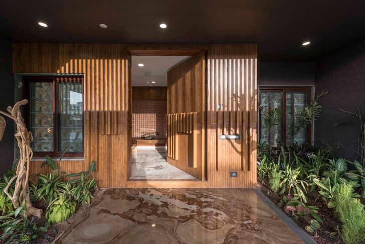 """shaded entrance ahmedabad home the grid architects indiaartndesign"""
