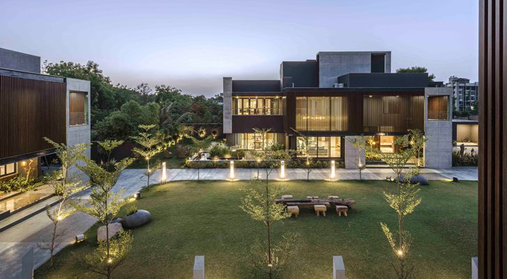 """view at night ahmedabad home the grid architects indiaartndesign"""
