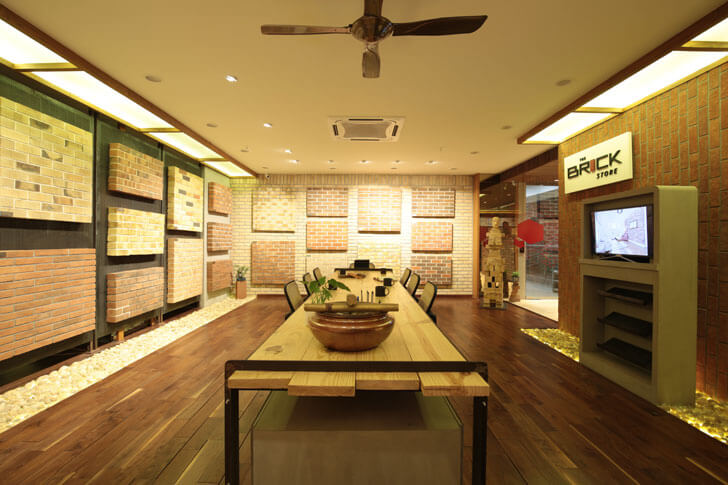 """central gallery brick store modi srivastava architects indiaartndesign"""