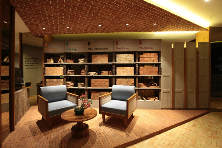 """discussion area brick store modi srivastava architects indiaartndesign"""