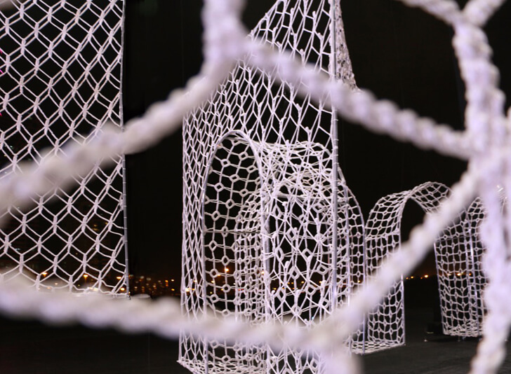 """framed lace forms within arch wall choi n shine indiaartndesign"""
