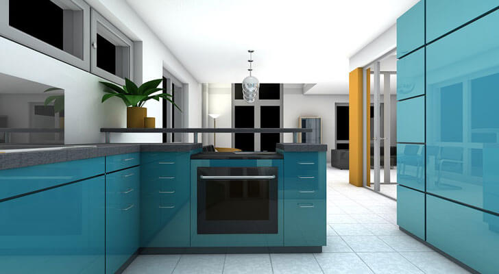 """bright coloured kitchens global trends 2018 indiaartndesign"""