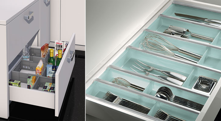 Häfele's efficient drawer organizers