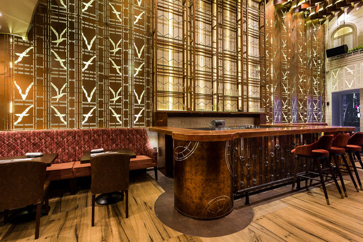 """laser cut backdrop bar farzi cafe mumbai sumessh menon indiaartndesign"""