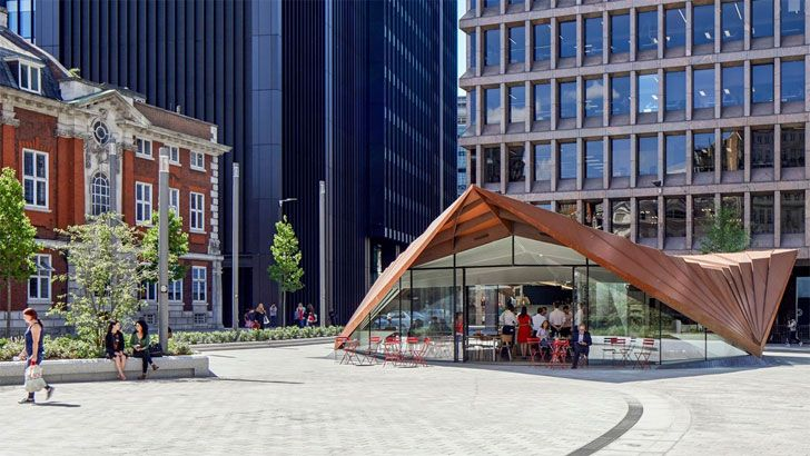 """by day Aldgate Pavilion Make Architects Indiaartndesign"""