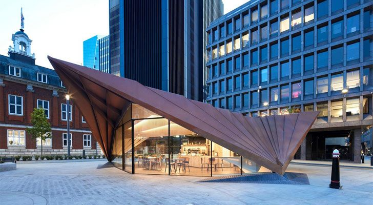 """by night Aldgate Pavilion Make Architects Indiaartndesign"""