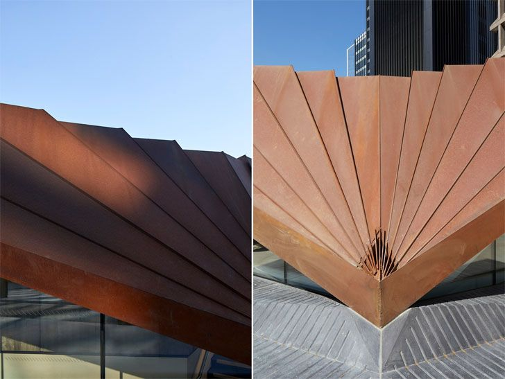 """corten panels roof Portsoken Pavilion Make Architects Indiaartndesign"""
