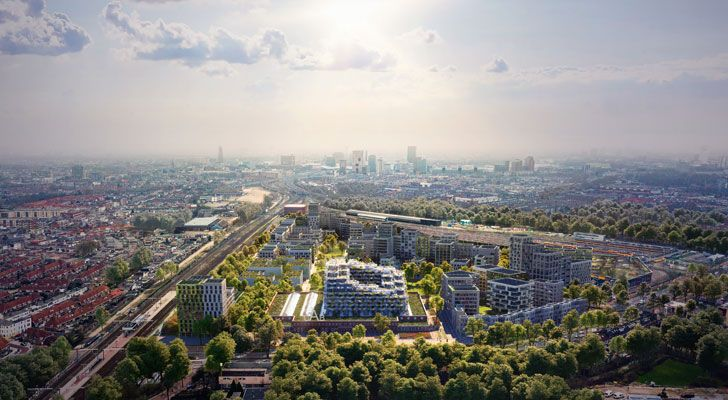 """masterplan aerial view Cartesiusdriehoek Blue District Mecanoo Architects indiaartndesign"""