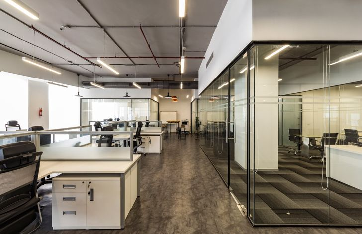 """glass partitions NGK office N cube indiaartndesign"""