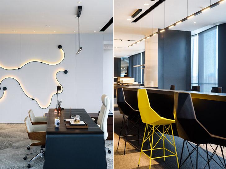"""creative office area president office GD lighting design indiaartnesign"""