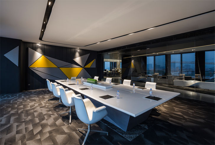 """large meeting room poly yuzhu office GD lighting design indiaartnesign"""