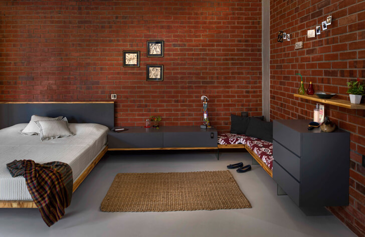 """bedroom in grey and brick knock on wood indiaartndesign"""