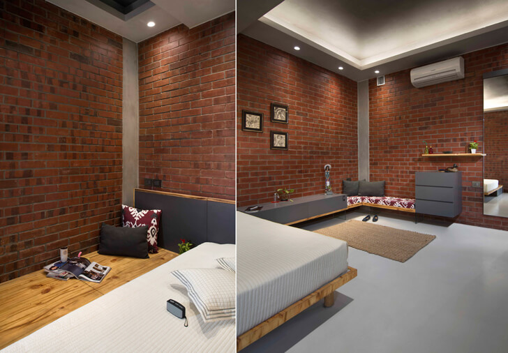 """corners bedroom in grey and brick knock on wood indiaartndesign"""