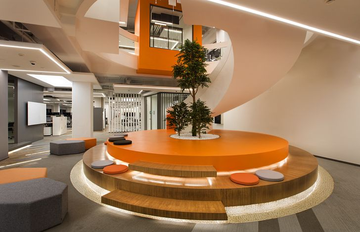 """round staircase and landing mimari studio basf turk office indiaartndesign"""