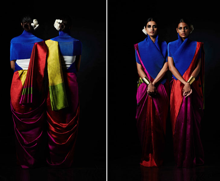 """expressive reversible saree payal khandwala gemini collection indiaartndesign"""