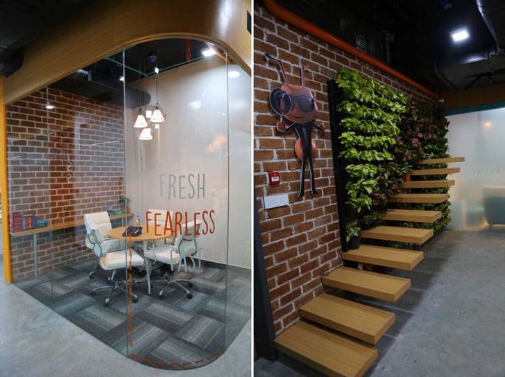 """green wall antworks office vision architects indiaartndesign"""