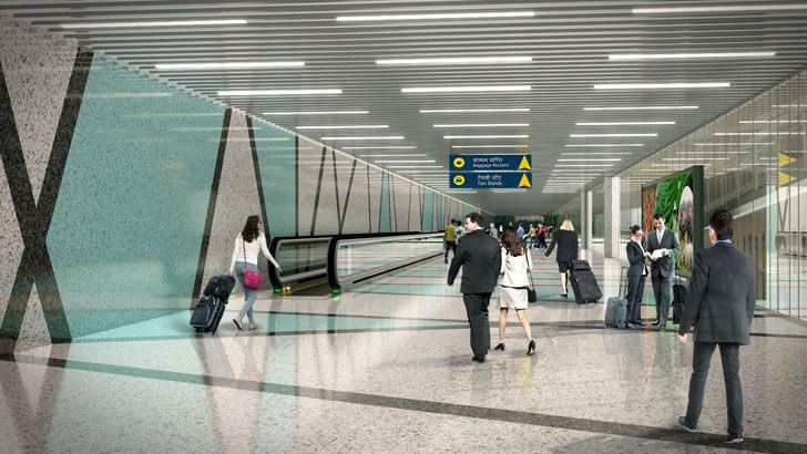 """arrival corridor Guwahati airport DFI Architects indiaartndesign"""