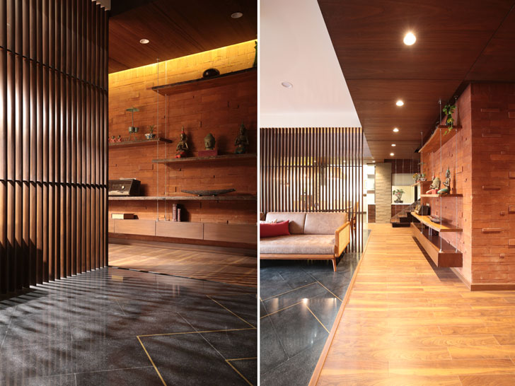 """exposed brick clad volume modi srivastava associates indiaartndesign"""