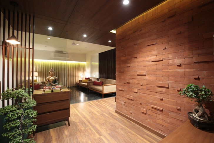 """exposed brick clad wall modi srivastava associates indiaartndesign"""
