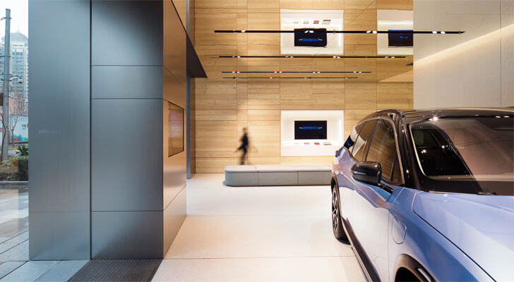 """exhibition area NIO showroom SHL Architects indiaartndesign"""