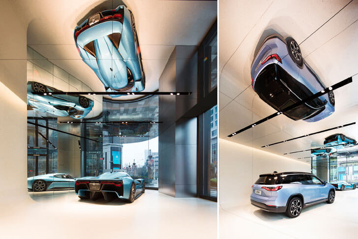 """reflection on ceiling NIO showroom SHL Architects indiaartndesign"""
