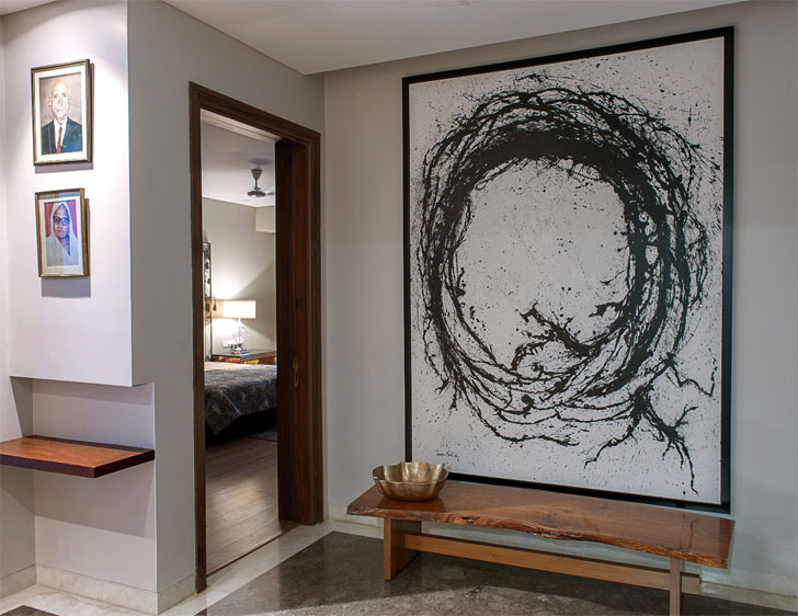 """""""Tapas Maity B&W painting console untitled design indiaartndesign"""""""
