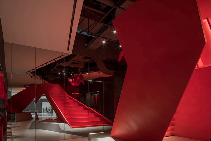 """red stairs roaring wild unwalk domani architects indiaartndesign"""