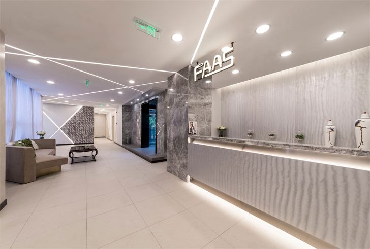 """reception FAAS medical spa Alberto Apostoli architect indiaartndesign"""
