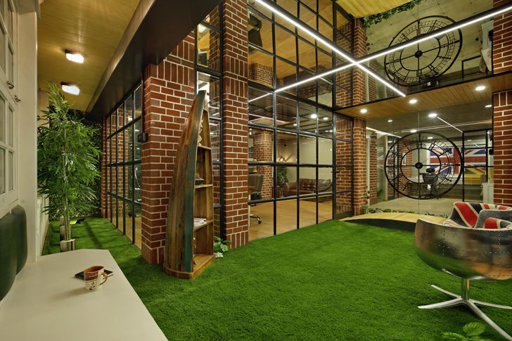 """indoor garden mirrored ceiling office interior chitte associates indiaartndesign"""