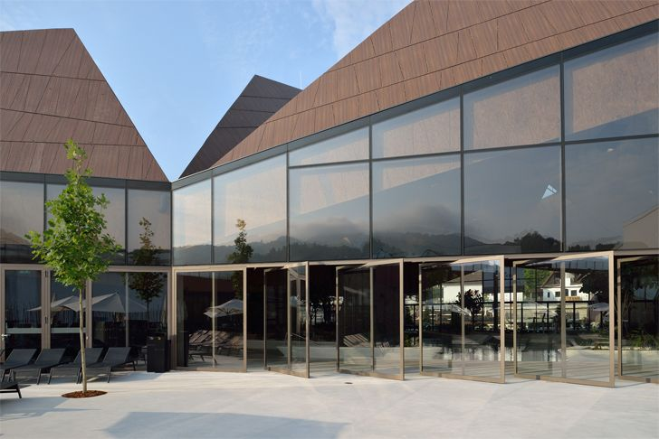 """glass walled facade Termalija family wellness ENOTA indiaartndesign"""
