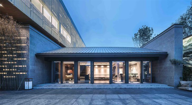 """main entrance Guofeng Library Dalian Lacime Architects indiaartndesign"""