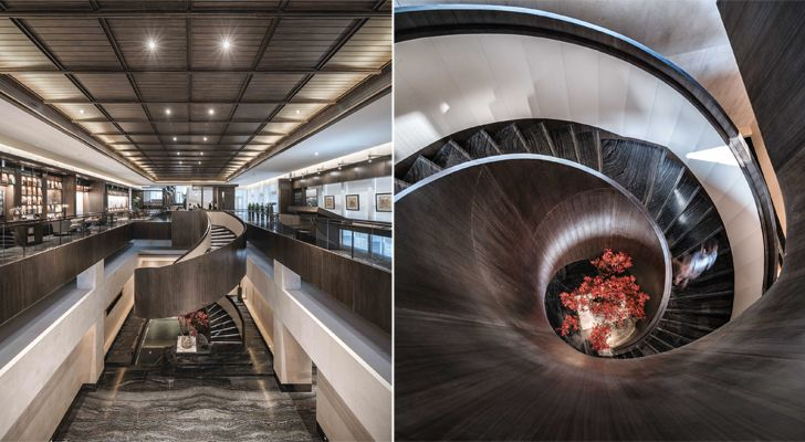 """staircase Guofeng Library Dalian Lacime Architects indiaartndesign"""