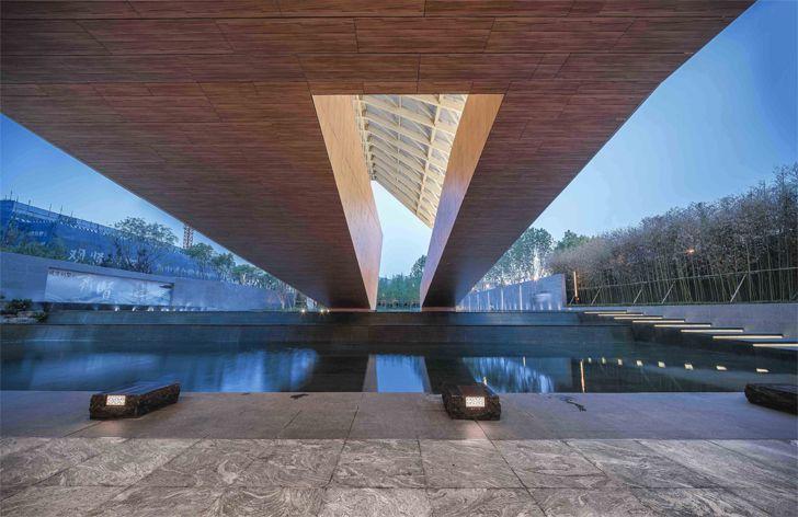 """under bridge Guofeng Library Dalian Lacime Architects indiaartndesign"""