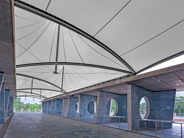 """""""tensile roof solidaridad village market tjep Vaastukalpa architects indiaartndesign"""""""