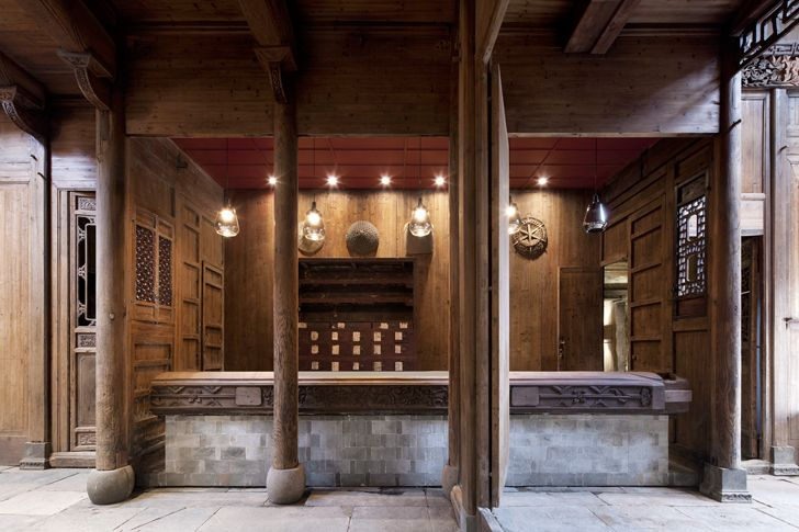 """restored woodwork Wuyuan Skywells hotel anySCALE architecture design studio indiaartndesign"""