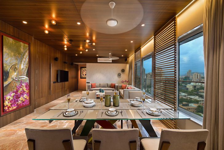 """living dining area residence HS Desiigns indiaartndesign"""
